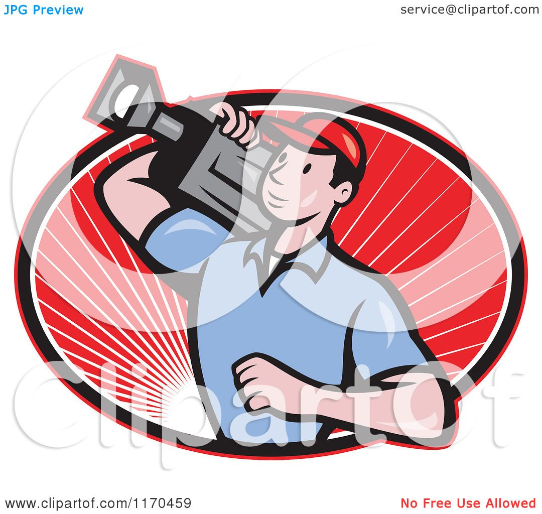 Clipart of a Cartoon Movie Camera Man Filming over an Oval ...