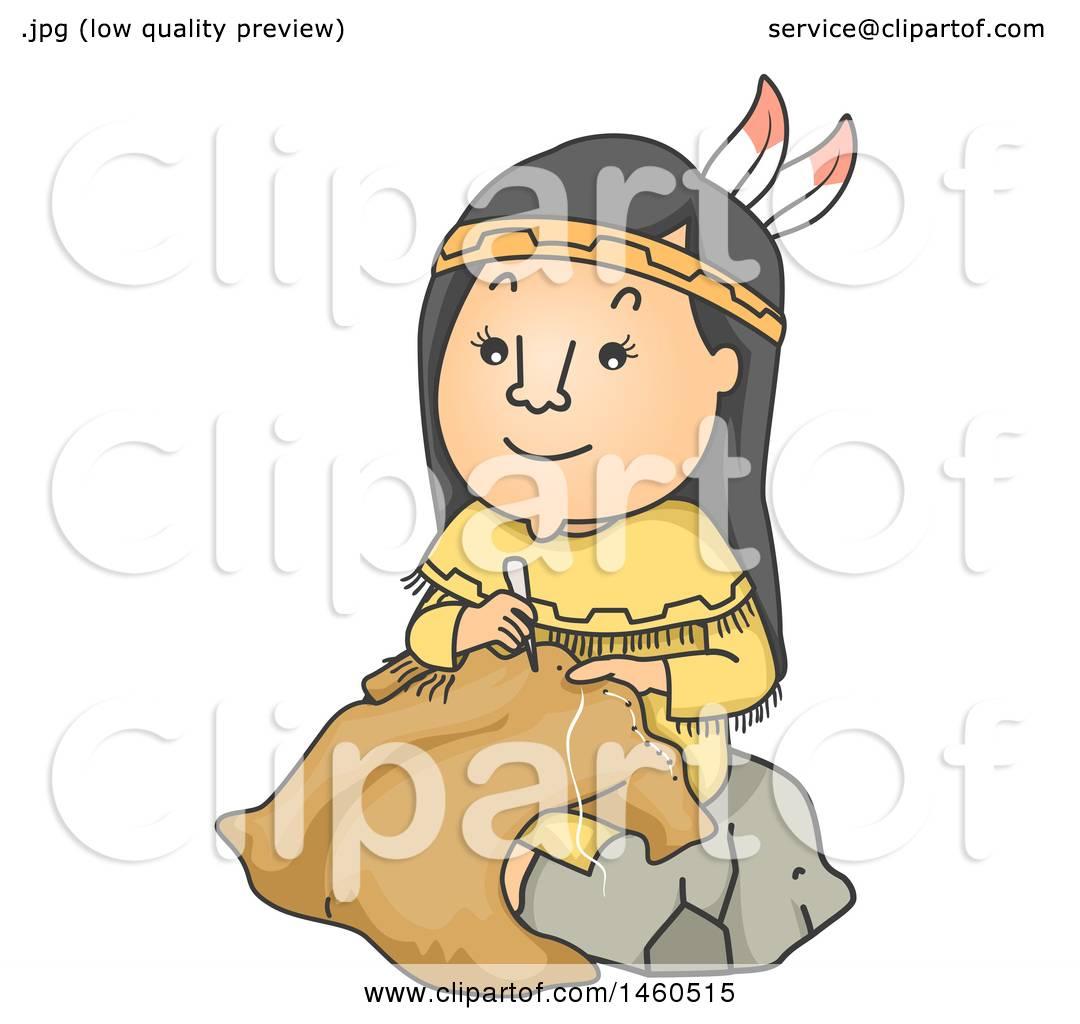 clipart of a cartoon native american woman making buffalo hide