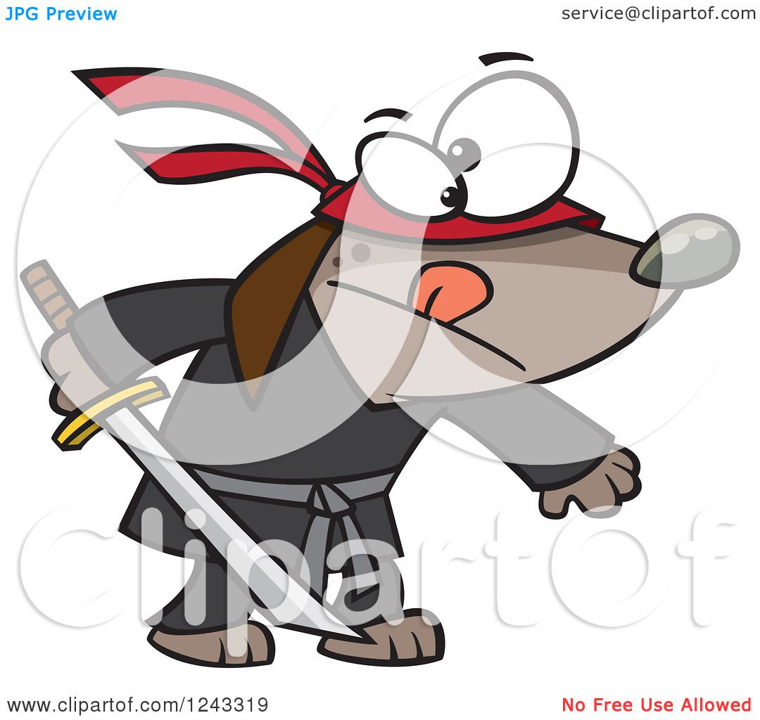 Clipart of a Cartoon Ninja Dog Holding a Sword - Royalty Free ...
