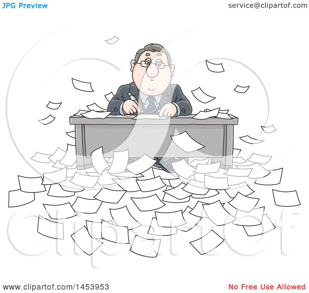 Clipart Of A Cartoon Overwhelmed White Business Man
