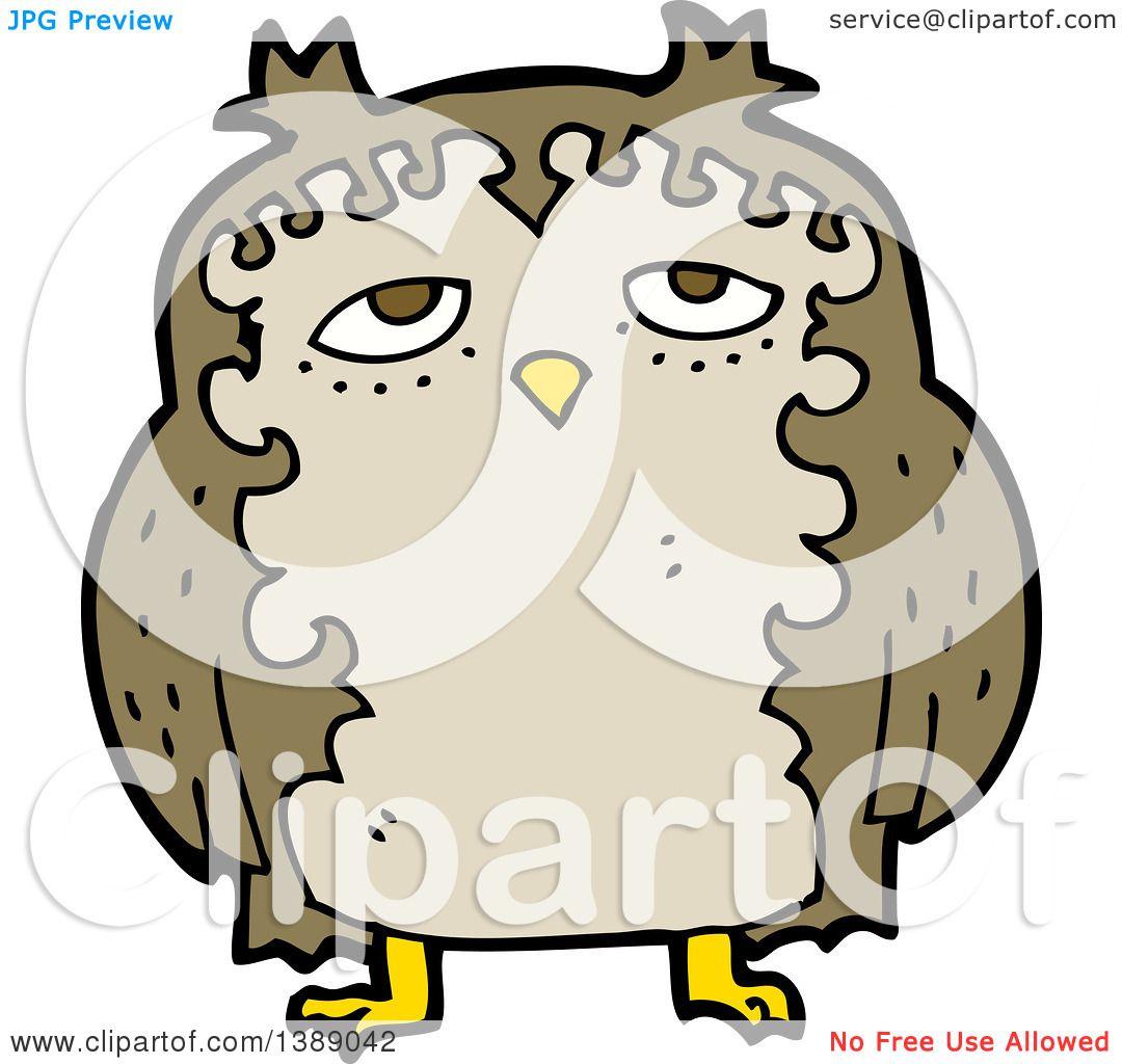 Clipart of a Cartoon Owl - Royalty Free Vector ...
