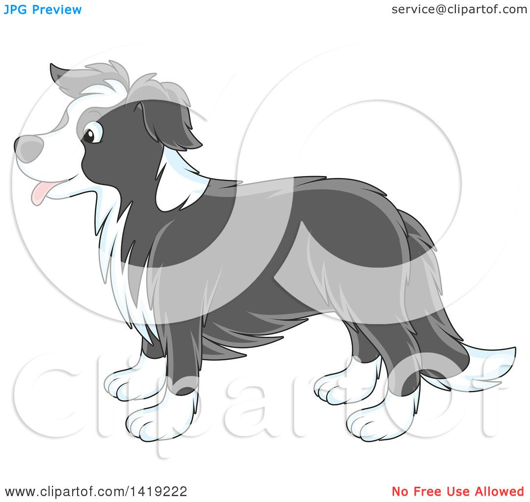 Clipart Of A Cartoon Panting Cute Gray And White Border