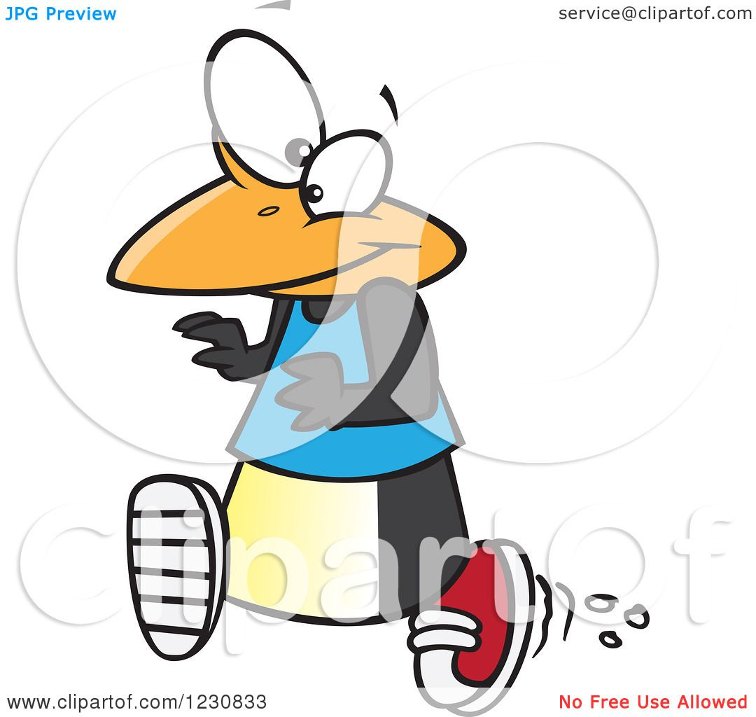 clipart of a cartoon penguin running royalty free vector