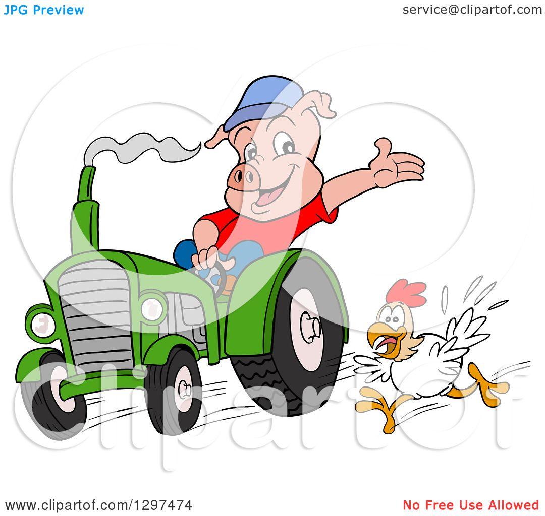 Clipart Of A Cartoon Pig Farmer Waving And Driving A