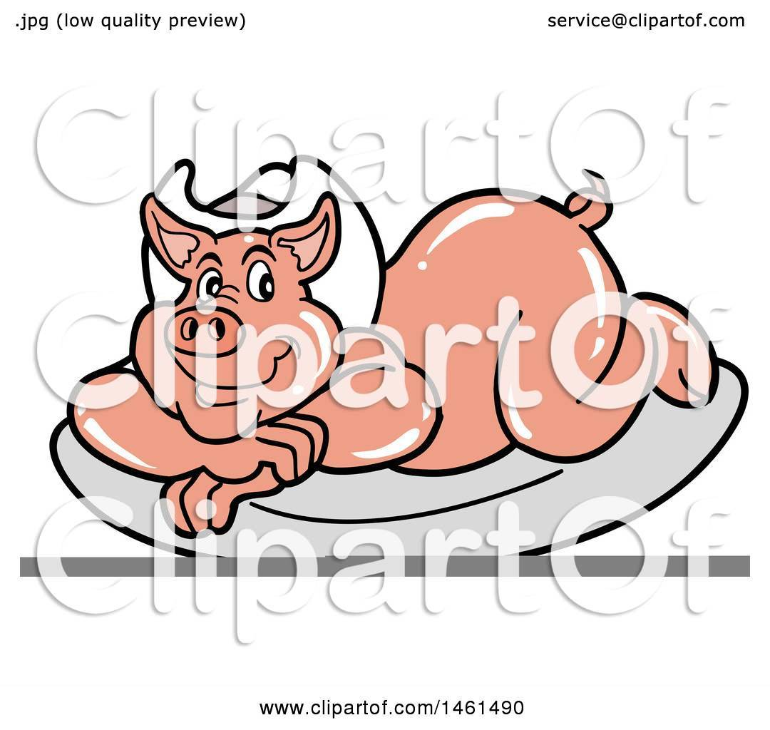 Clipart Of A Cartoon Pig Wearing A Cowboy Hat And Resting