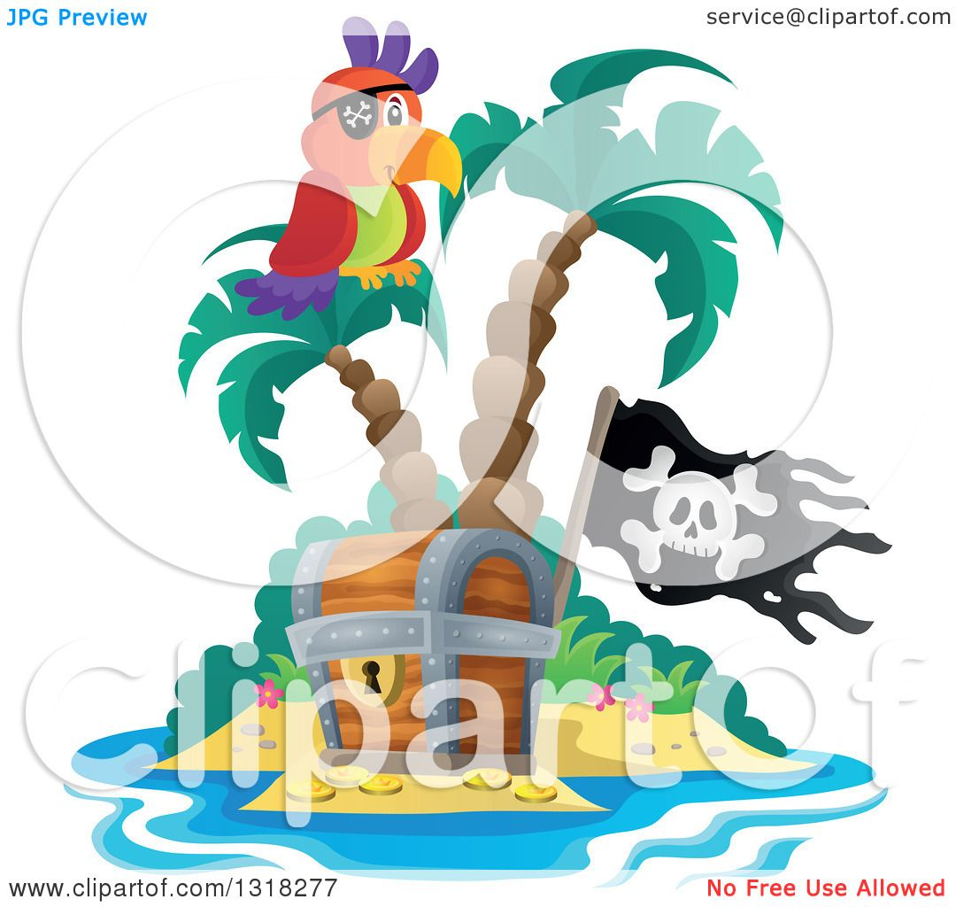 Clipart of a Cartoon Pirate Parrot on an Island Palm Tree ...