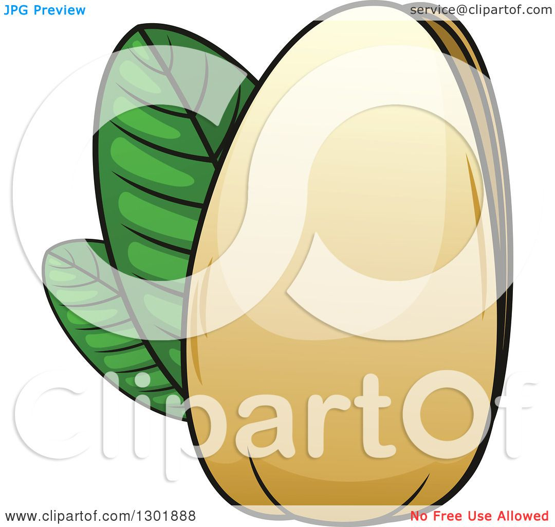 clipart of a cartoon pistachio nut and leaves royalty free