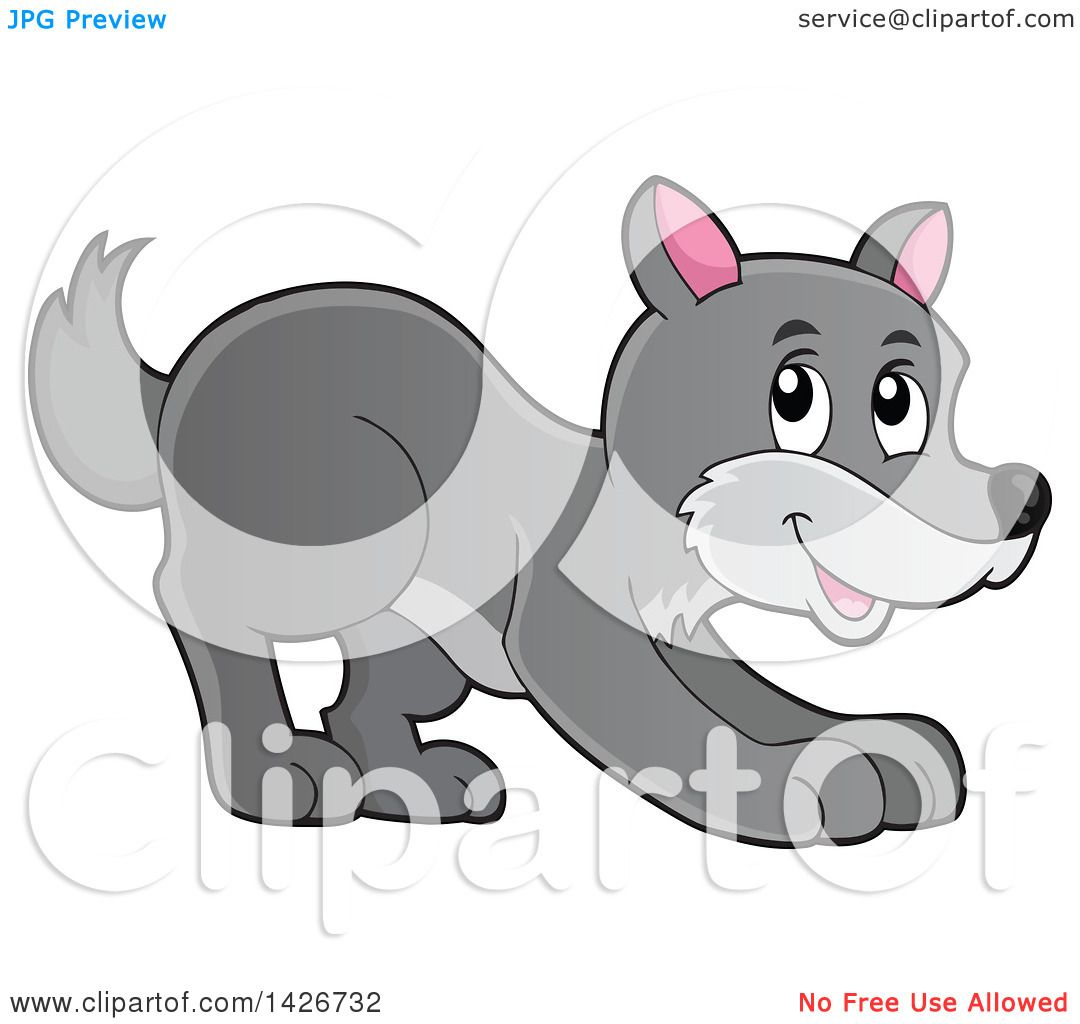 Clipart of a Cartoon Playful Gray Wolf - Royalty Free ...