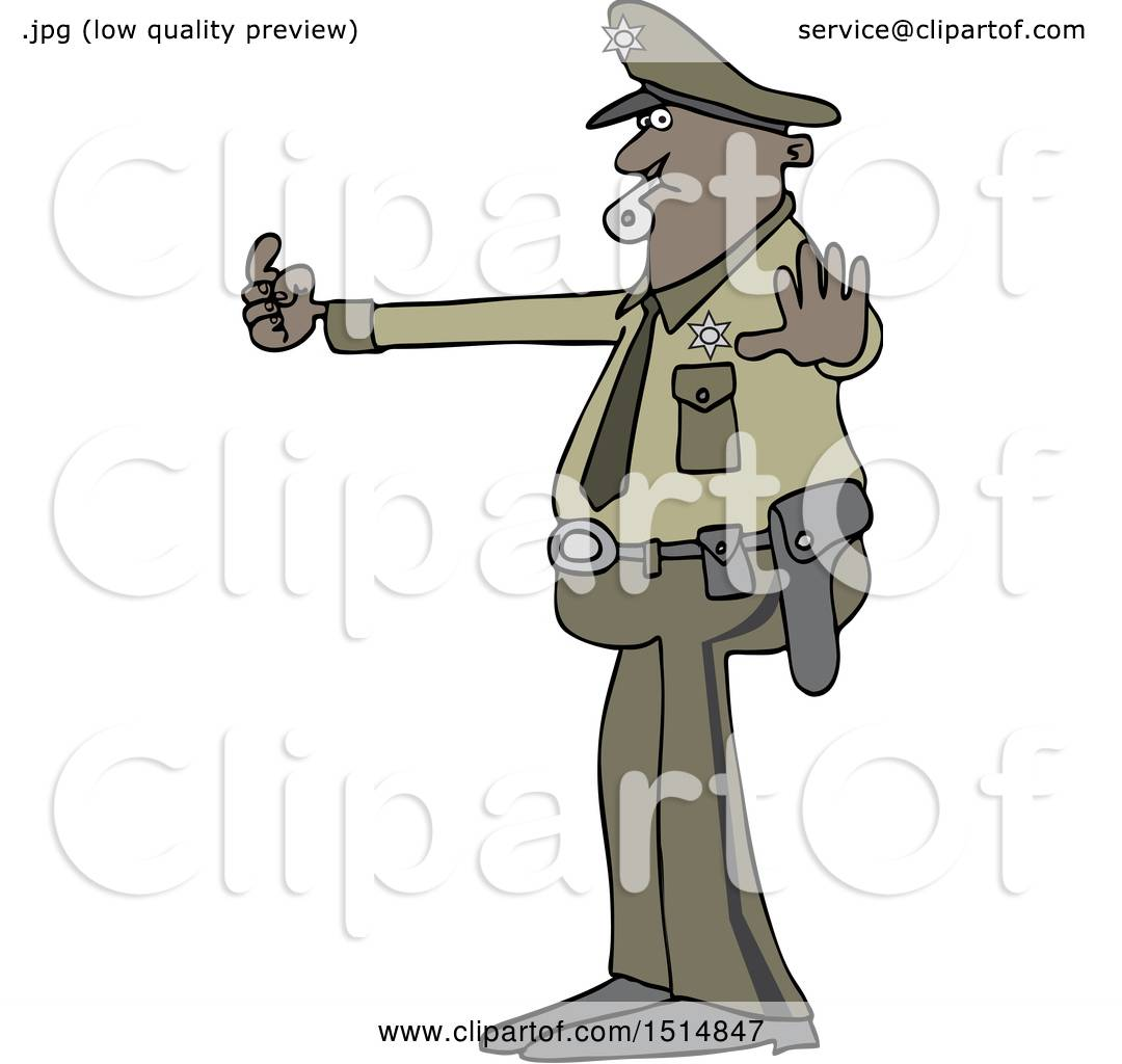 Clipart Of A Cartoon Police Man Directing Traffic