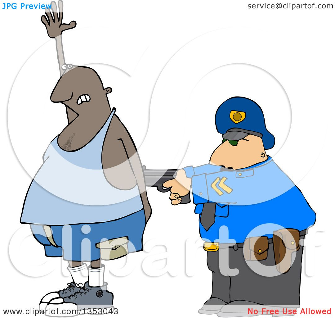 Clipart of a Cartoon Police Officer Arresting a Man As He Accidental Poops  His Pants -