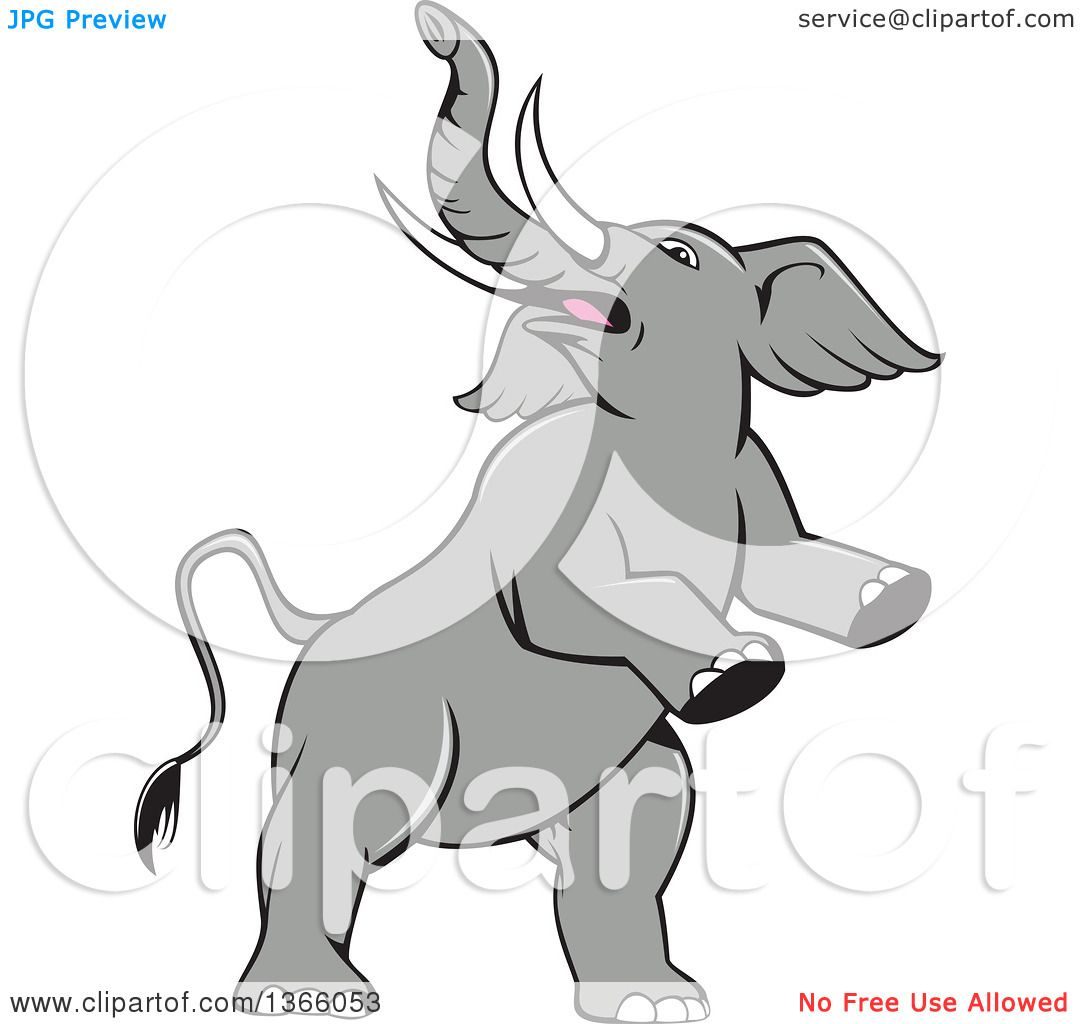 clipart of a cartoon prancing and rearing elephant royalty free