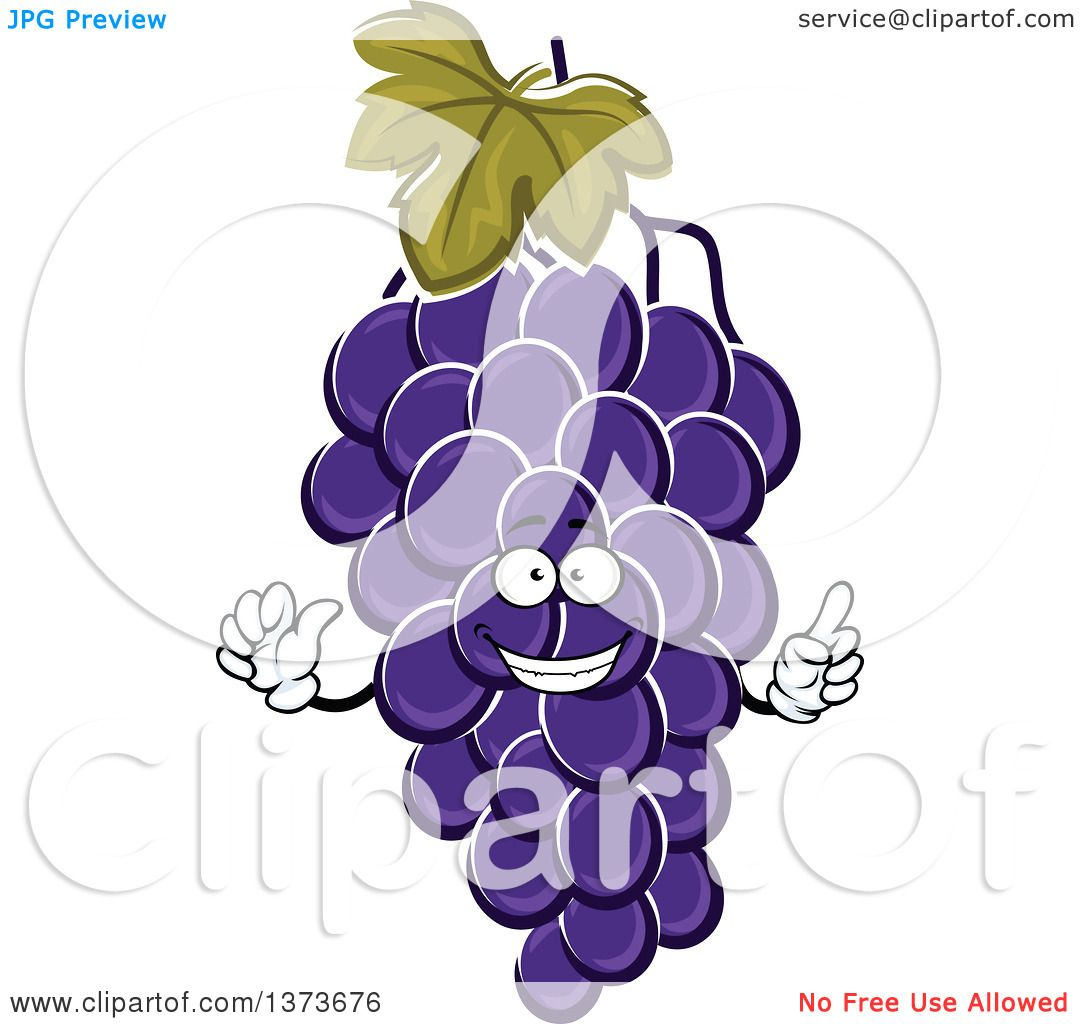 Clipart of a Cartoon Purple Grapes Character - Royalty ...