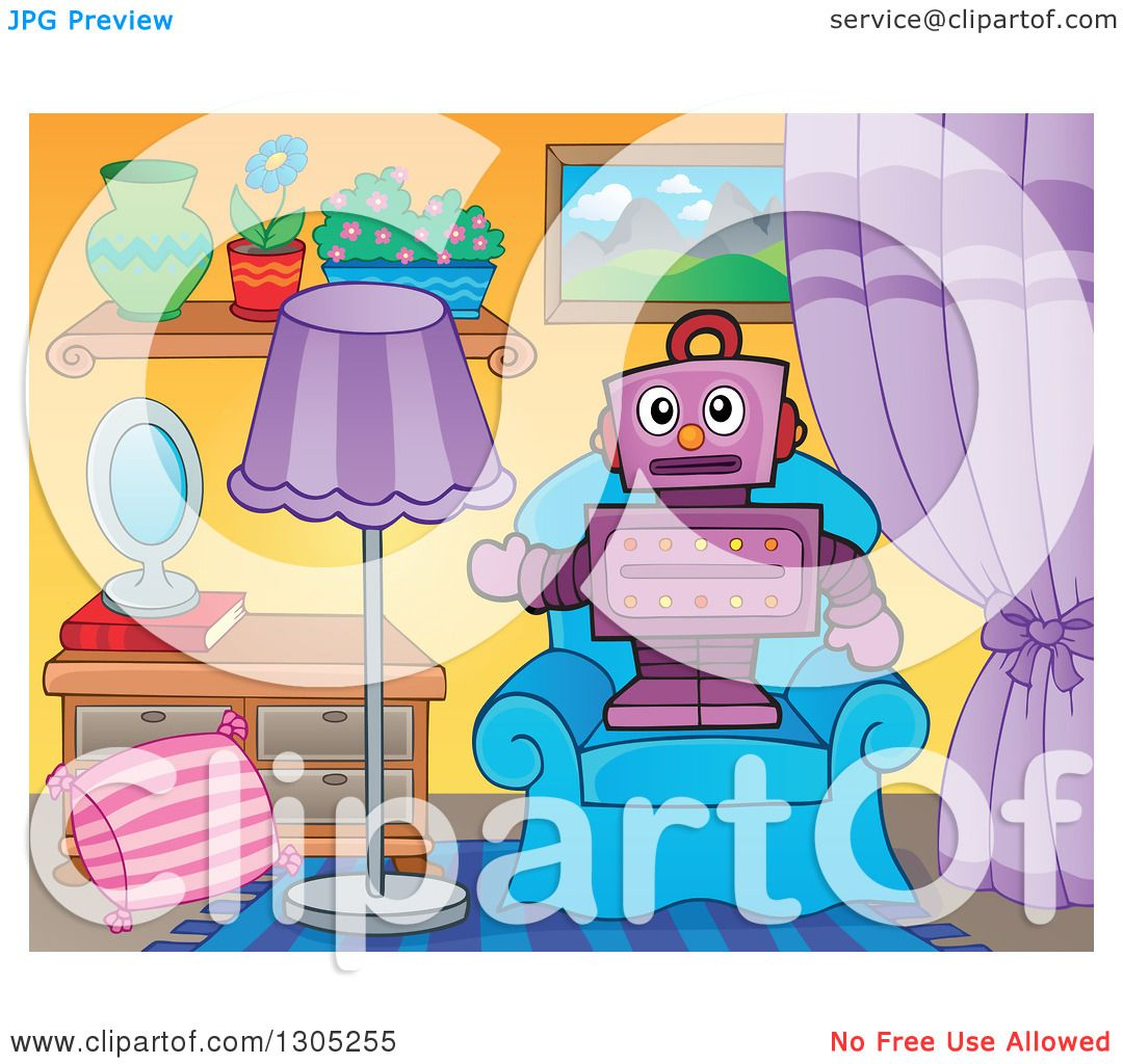 Clipart Of A Cartoon Purple Robot Standing And Presenting On Living Room Chair