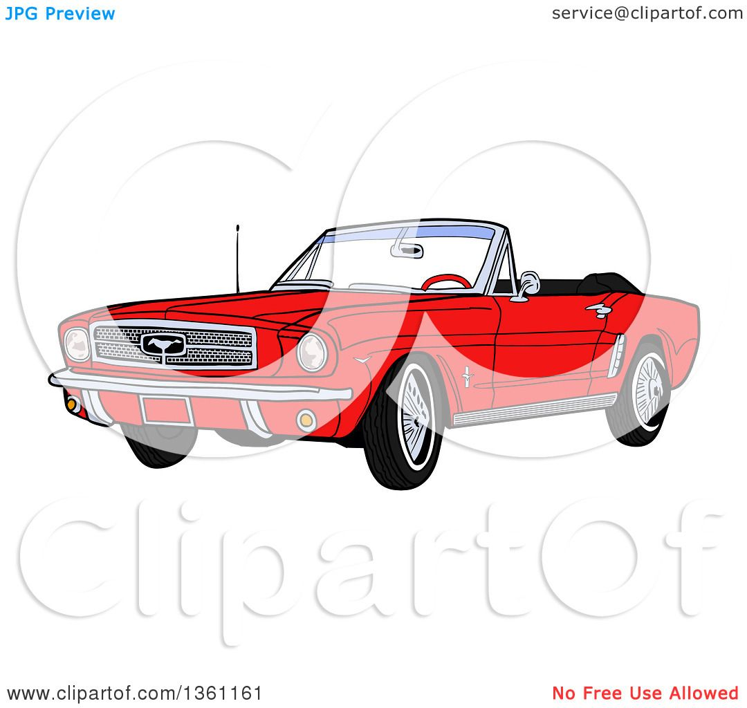 clipart of a cartoon red convertible 64 ford mustang muscle car royalty free vector. Black Bedroom Furniture Sets. Home Design Ideas
