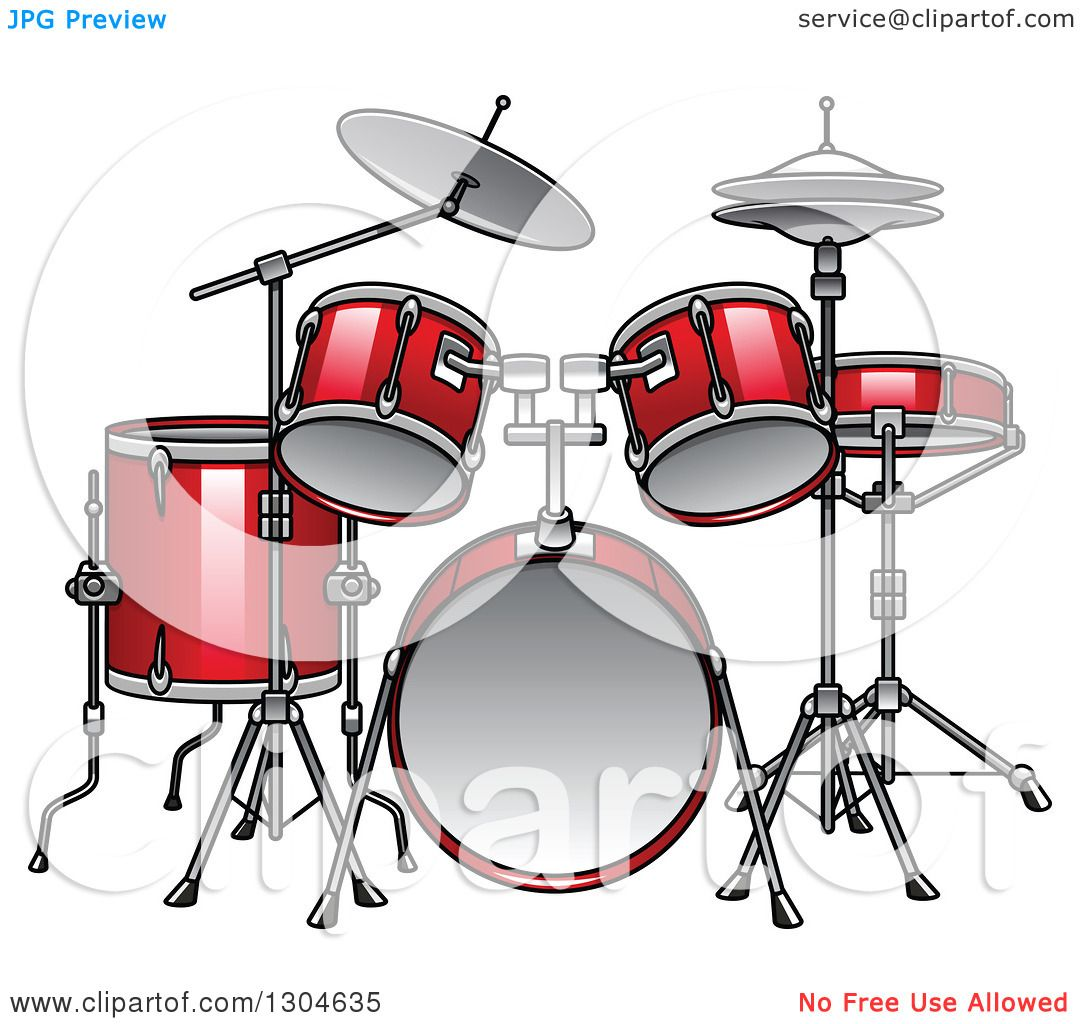 Clipart of a Cartoon Red Drum Set - Royalty Free Vector Illustration ...