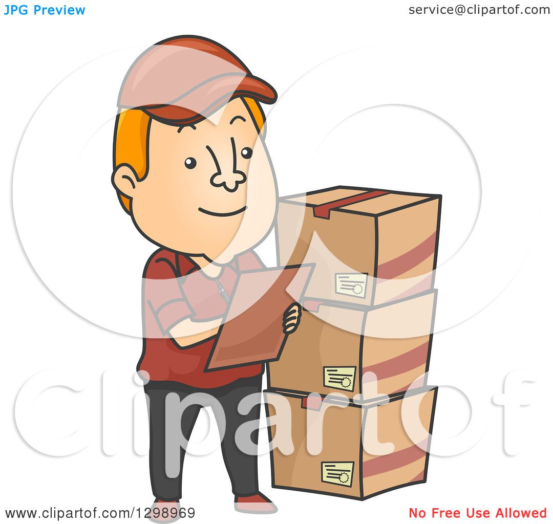 clipart of a cartoon red haired white male inventory checker with boxes royalty free vector illustration by bnp design studio - Inventory Checker