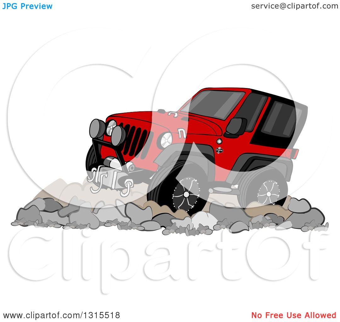 Clipart Of A Cartoon Red Jeep Wrangler SUV On Boulders
