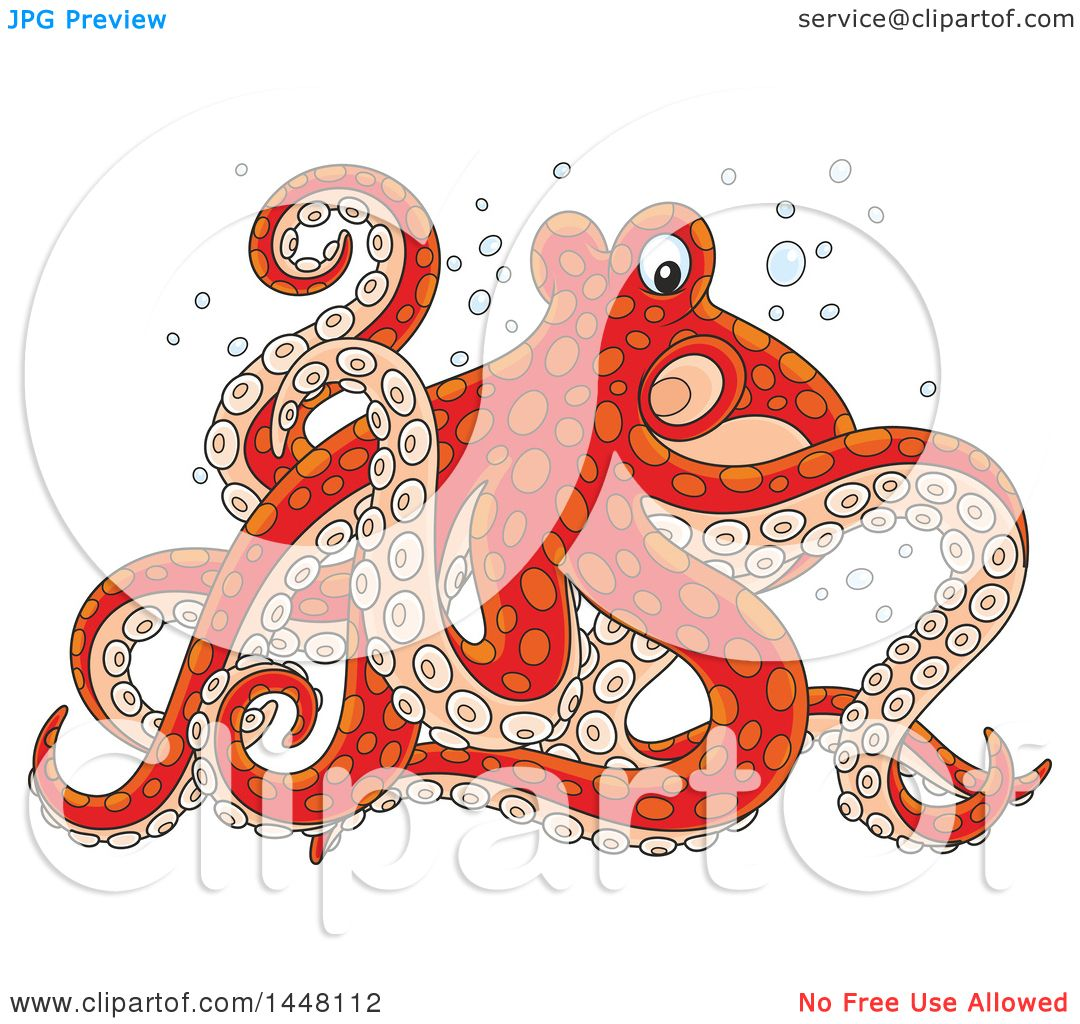 Clipart of a Cartoon Red Octopus Walking on Its Tentacles ...