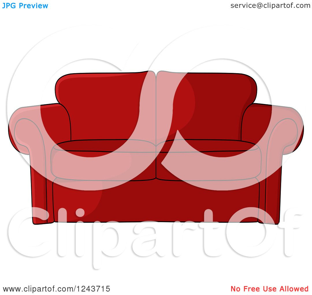 Clipart Of A Cartoon Red Sofa Royalty Free Vector Illustration By