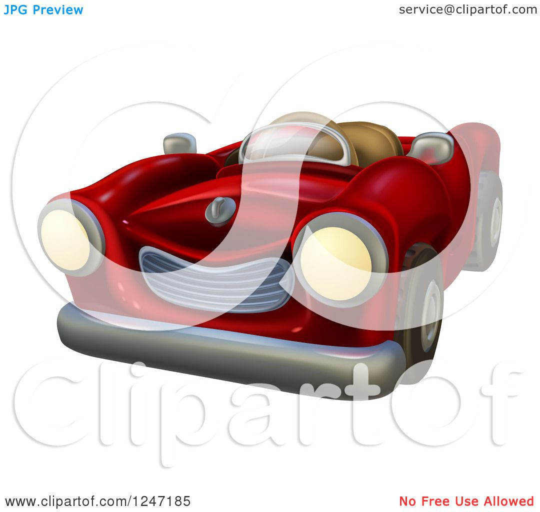 Clipart Of A Cartoon Red Vintage Convertible Car Royalty Free Vector Illustration By Atstockillustration 1247185