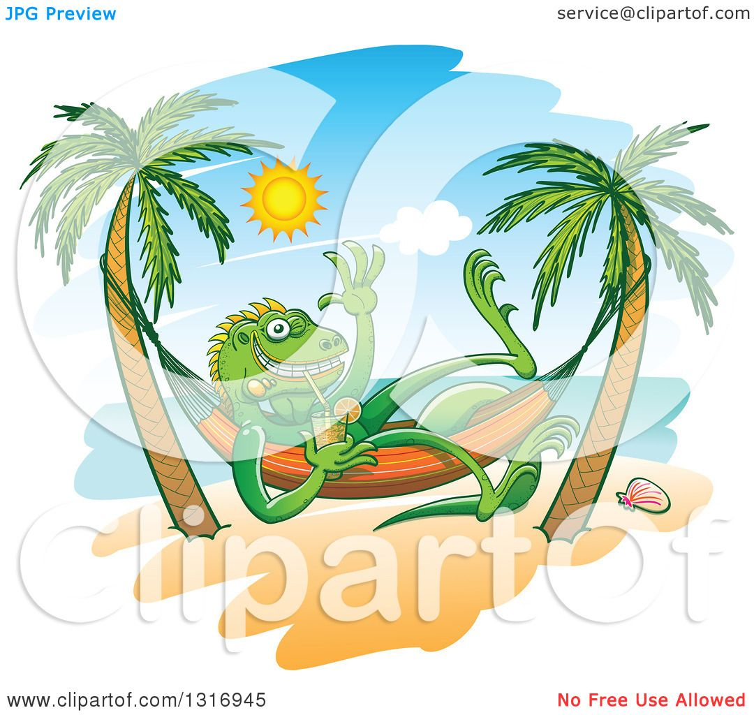 Clipart Of A Cartoon Relaxed Iguana Lizard Waving Drinking Iced Tea In Hammock On Tropical Beach