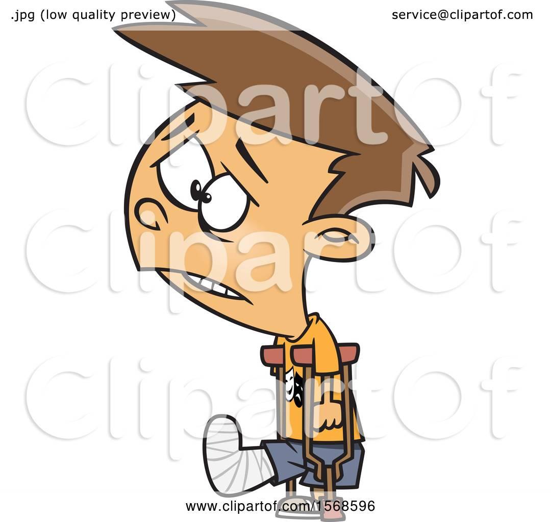 Clipart Of A Cartoon Sad Boy With A Broken Leg Using Crutches