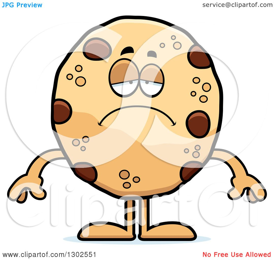 Clipart Of A Cartoon Sad Depressed Chocolate Chip Cookie