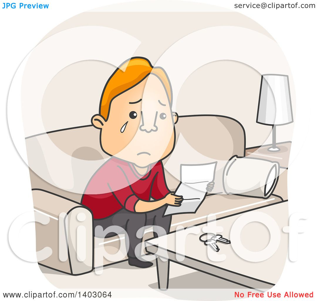 Clipart of a Cartoon Sad Red Haired White Man Reading a Break up
