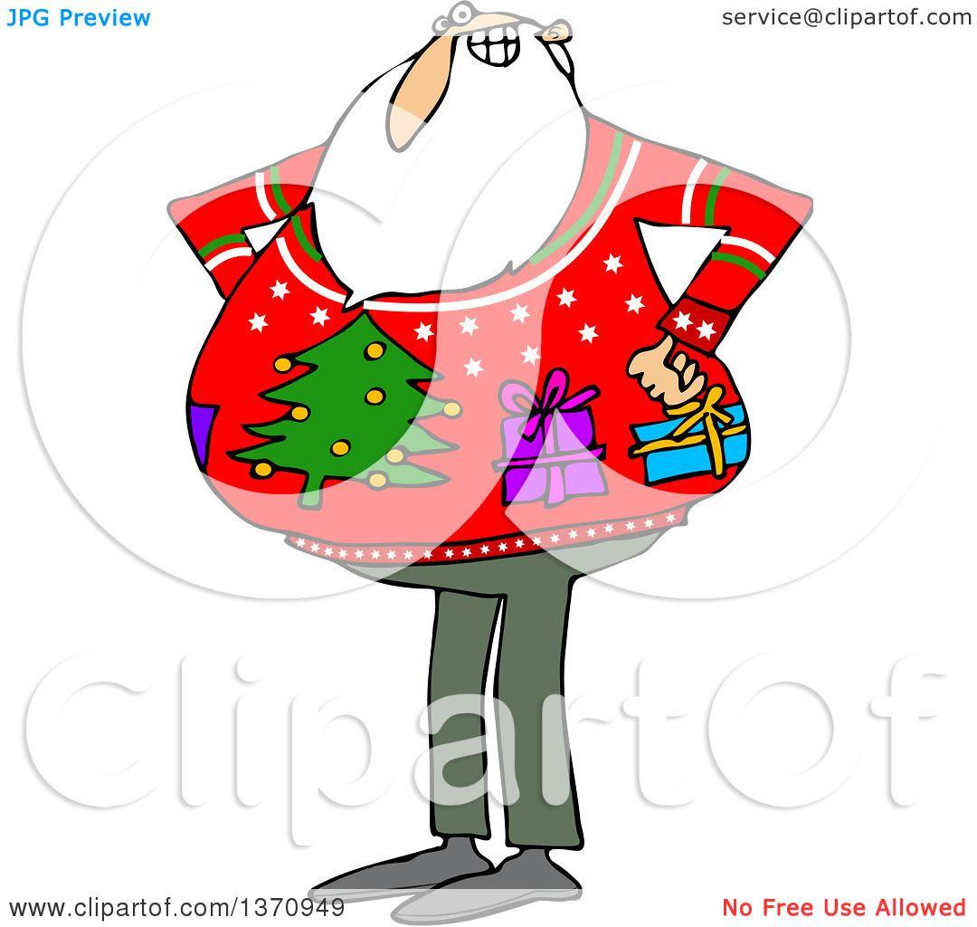 Ugly Christmas Sweater Cartoon.Clipart Of A Cartoon Santa Claus Wearing An Ugly Christmas