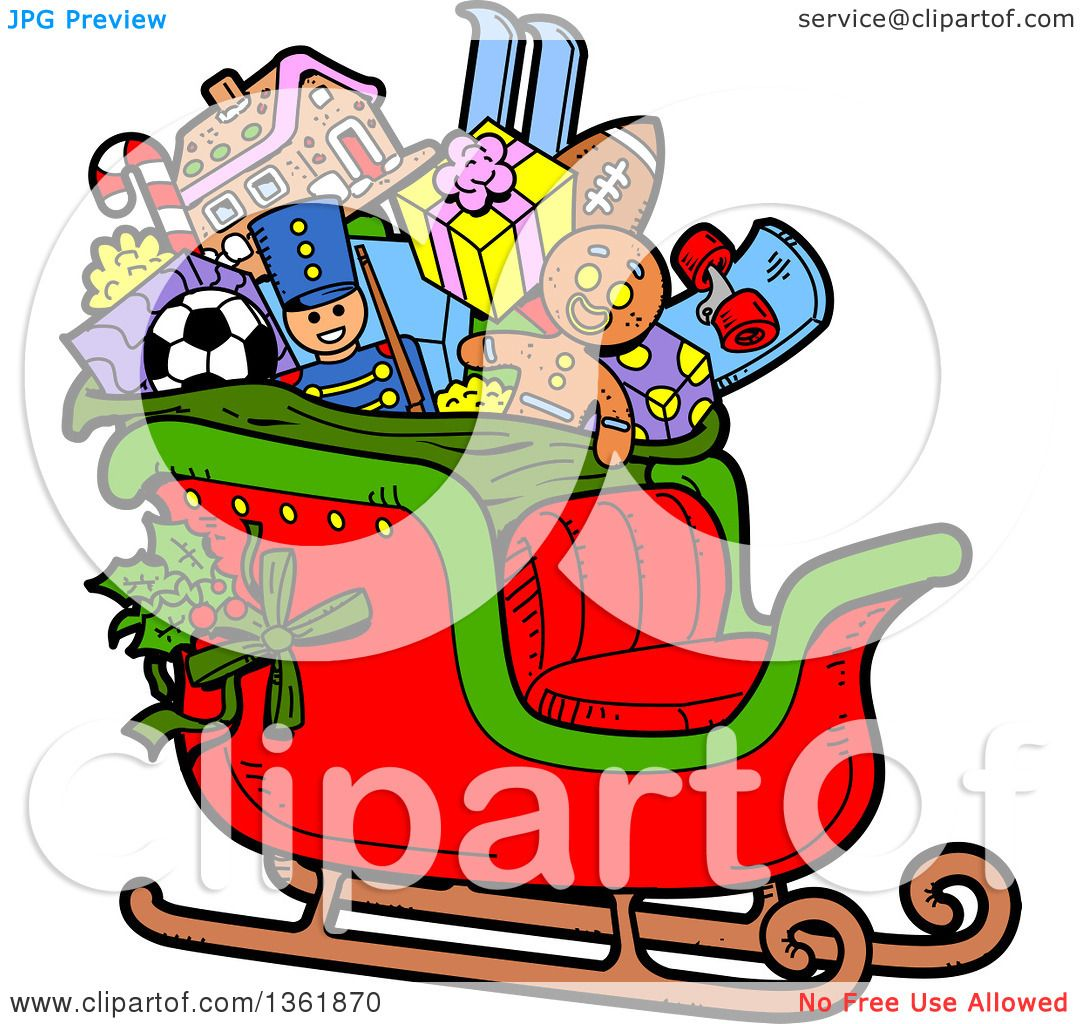 Christmas Toys Cartoon : Clipart of a cartoon santas christmas sleigh with holly