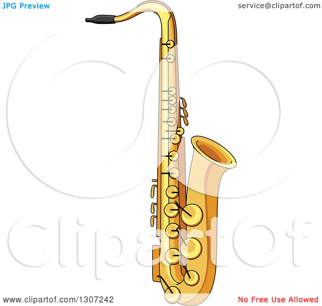 Clipart of a cartoon saxophone royalty free vector - Clipart illustration ...