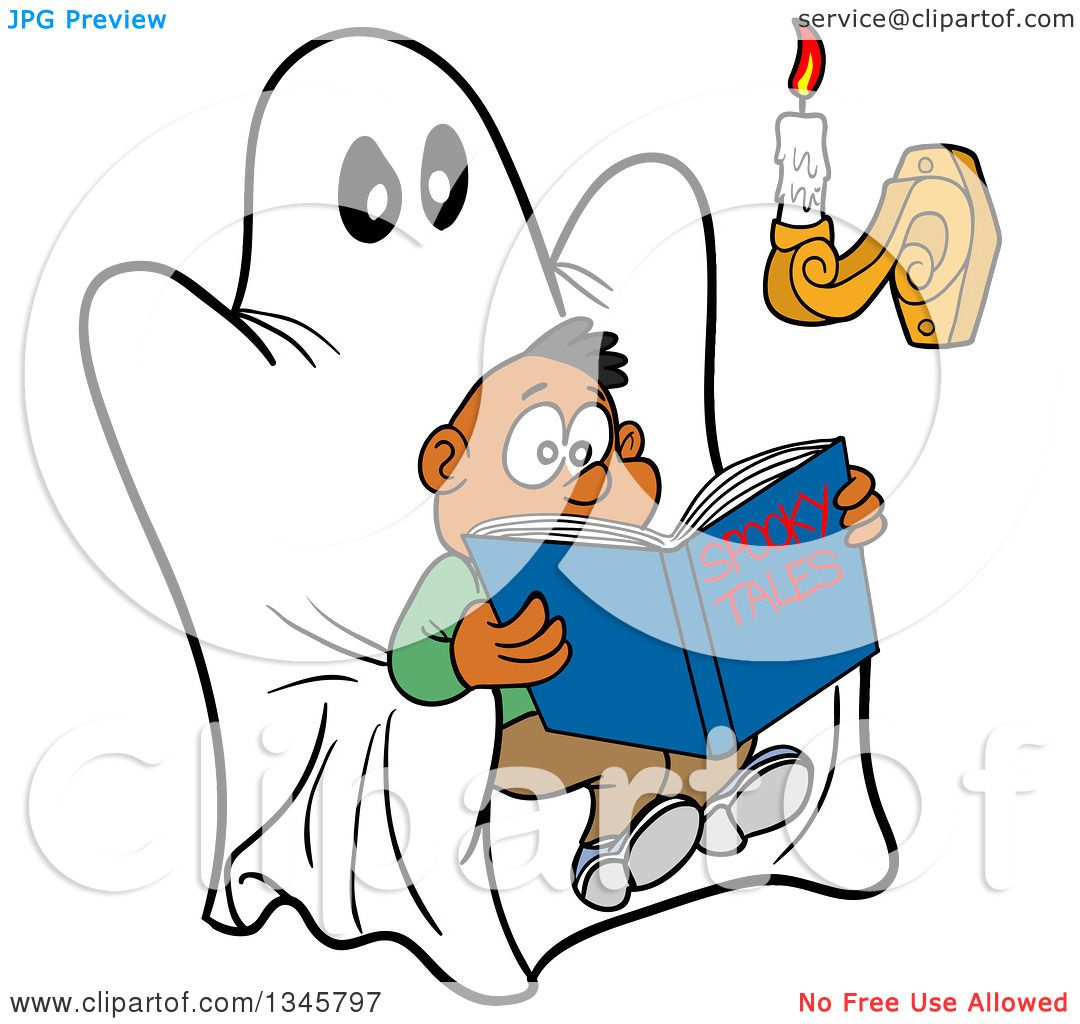 Clipart Of A Cartoon Scared Black Boy Reading A Book Of
