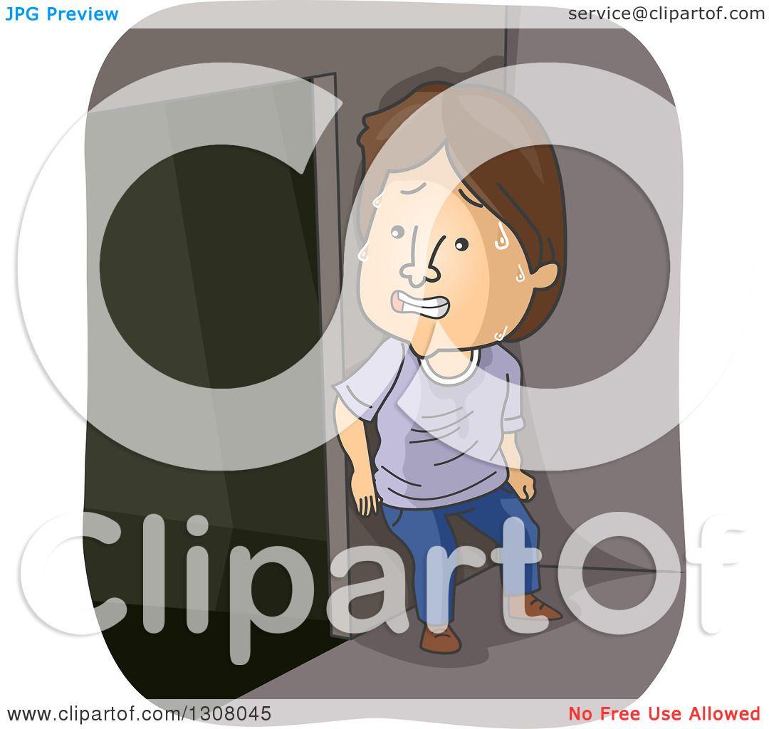 Clipart Of A Cartoon Scared Brunette White Man Hiding