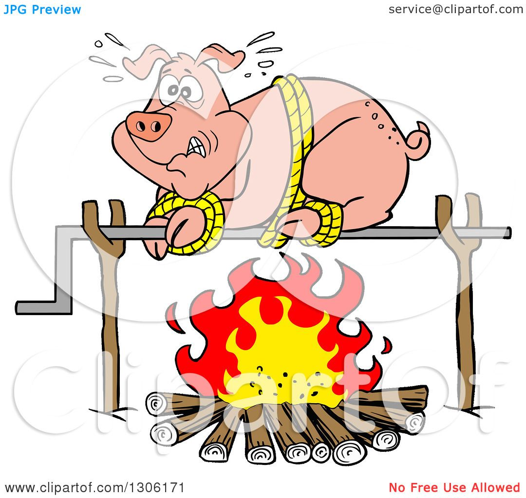 Clipart-Of-A-Cartoon-Scared-Pig-On-A-Spi