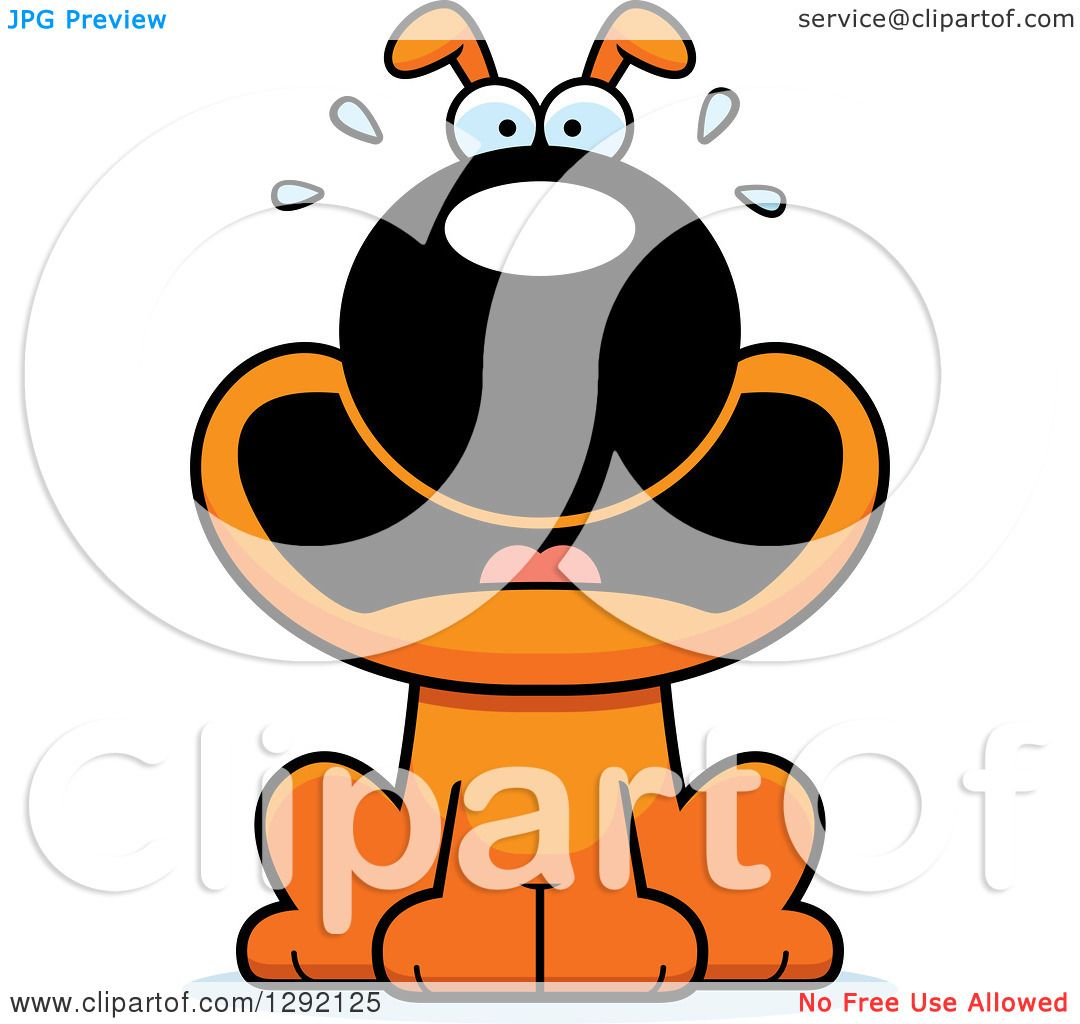 Clipart of a Cartoon Scared Screaming Orange Dog - Royalty Free Vector ...