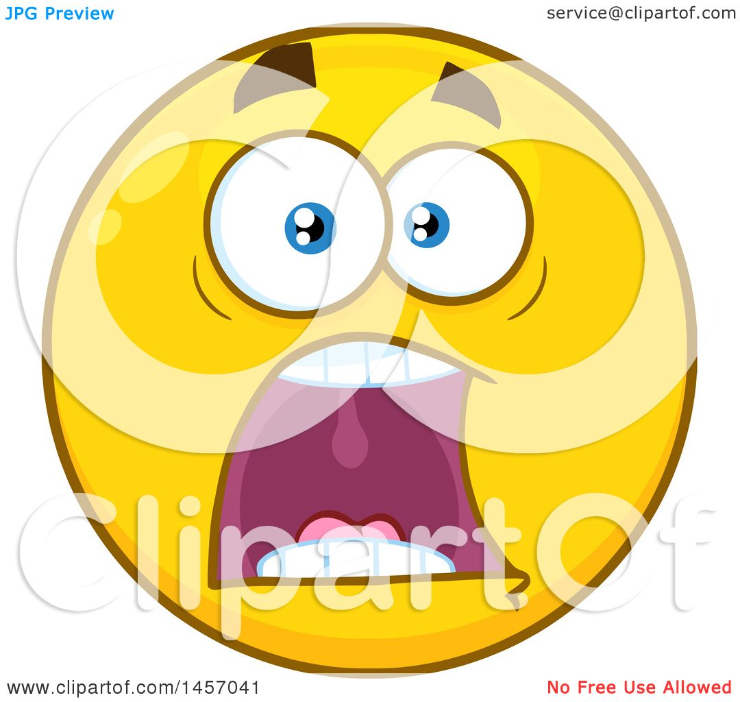 clipart of a cartoon screaming yellow emoji smiley face royalty rh clipartof com