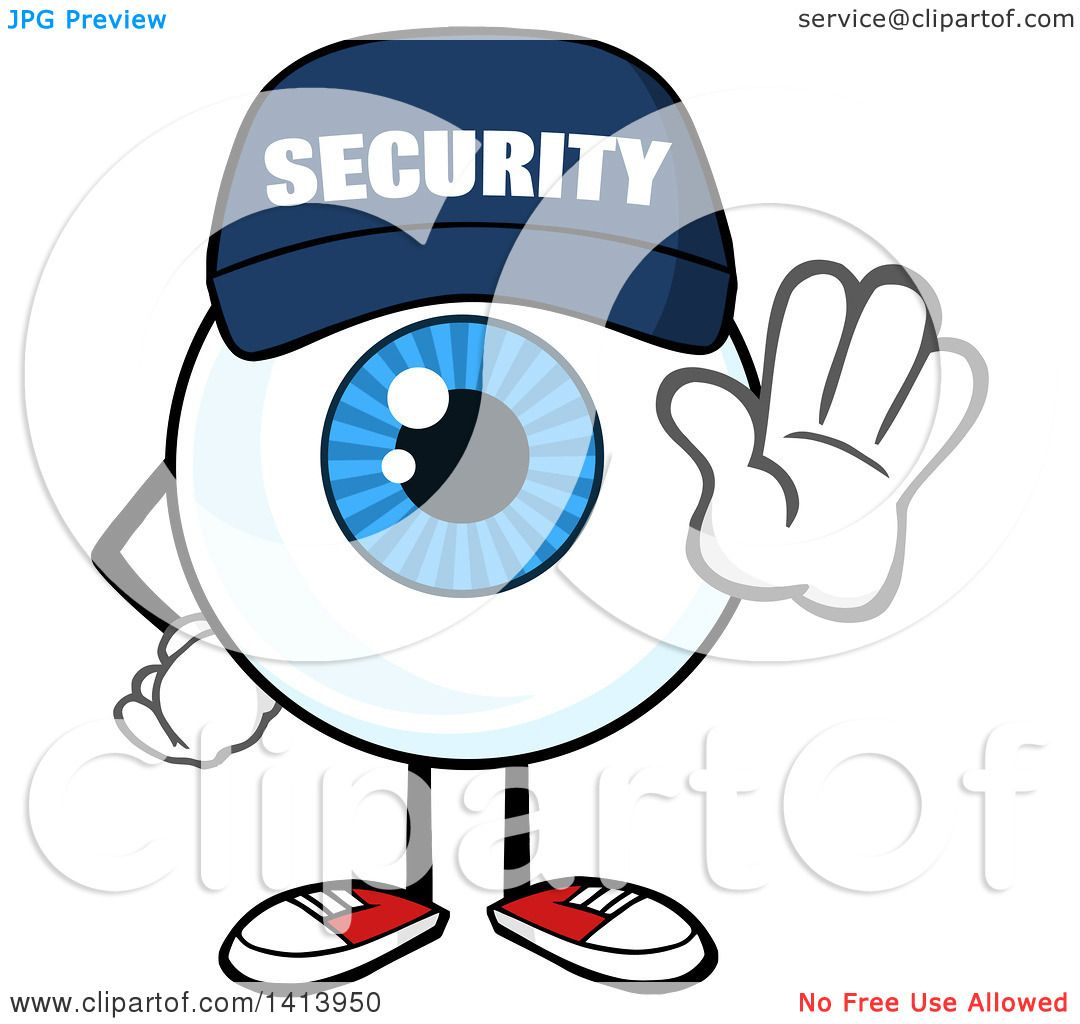 clipart of a cartoon security guard eyeball character mascot