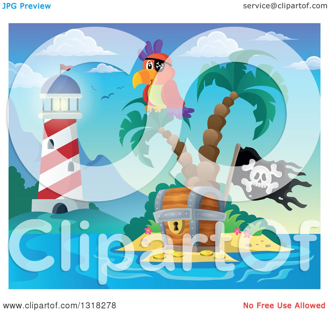 Clipart of a Cartoon Shining Lighthouse by a Pirate Parrot ...