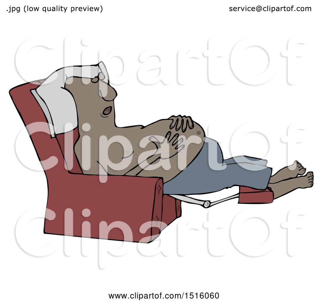 Clipart Of A Cartoon Shirtless Black Man Sleeping In Recliner Chair Resting His Hands On Belly