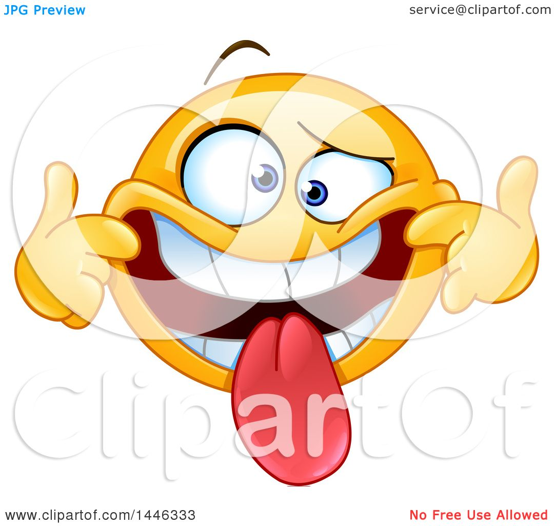 clipart of a cartoon silly yellow emoji smiley face emoticon pulling rh clipartof com silly clip art faces hilarious clip art