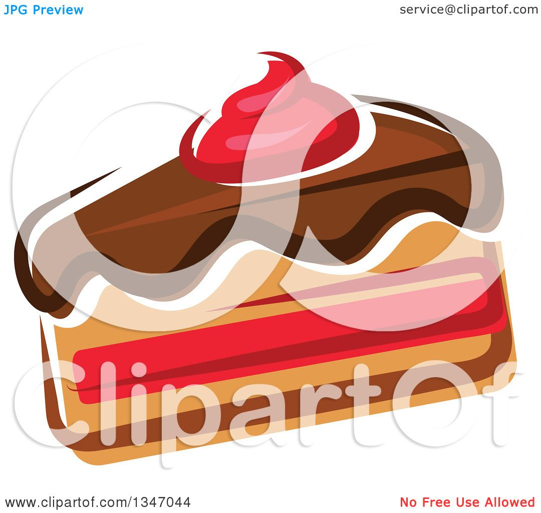 Cake With Icing Vector : Clipart of a Cartoon Slice of Cake with Chocolate Icing ...