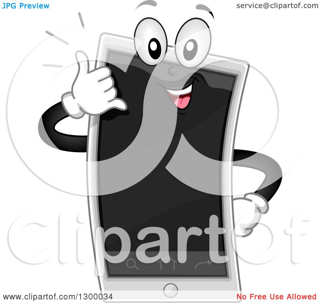 Cartoonsmart Character Design : Clipart of a cartoon smart phone character gesturing call