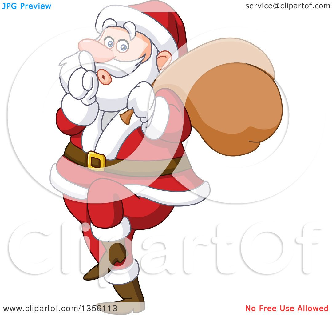 Clipart of a Cartoon Sneaky Santa Gesturing to Be Quiet - Royalty ...