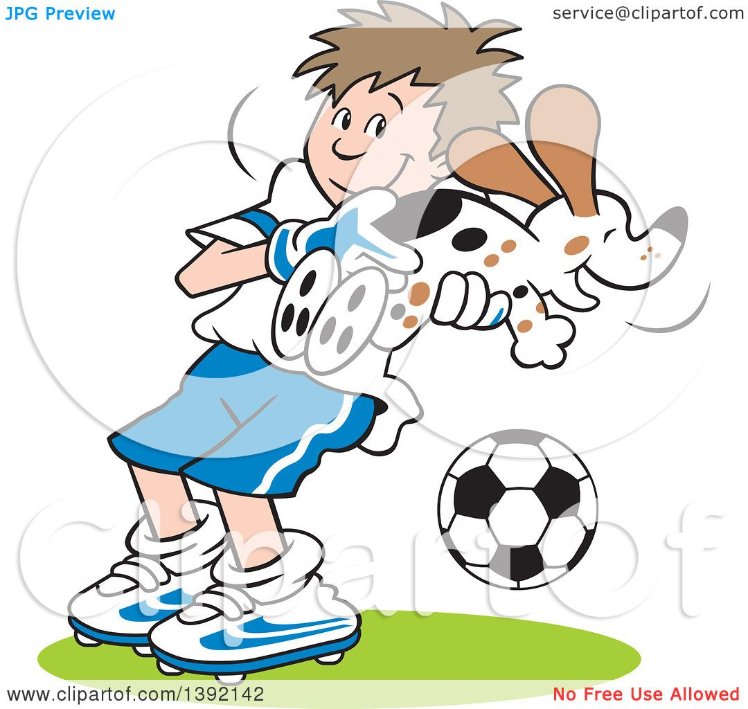 Clipart of a Cartoon Soccer Player Goalie Boy Catching a Dog - Royalty Free Vector ...