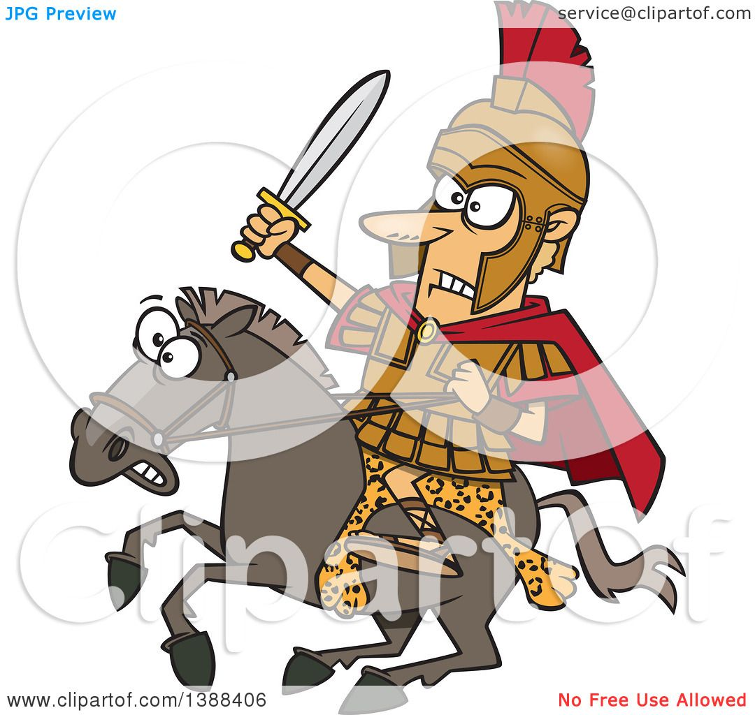 Clipart Of A Cartoon Spartan Soldier Alexander The Great Wielding A Sword On A Horse Royalty
