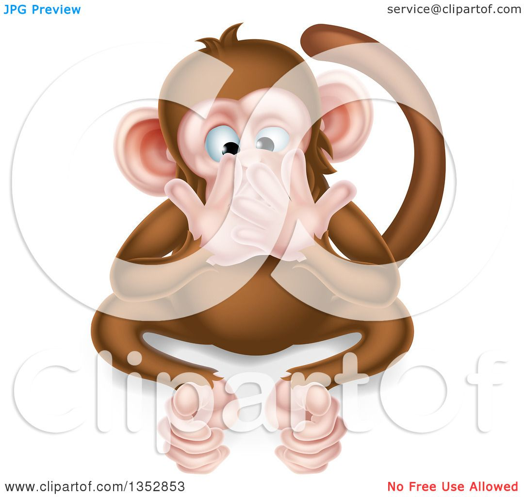 Clipart of a Cartoon Speak No Evil Wise Monkey Covering His Mouth ...
