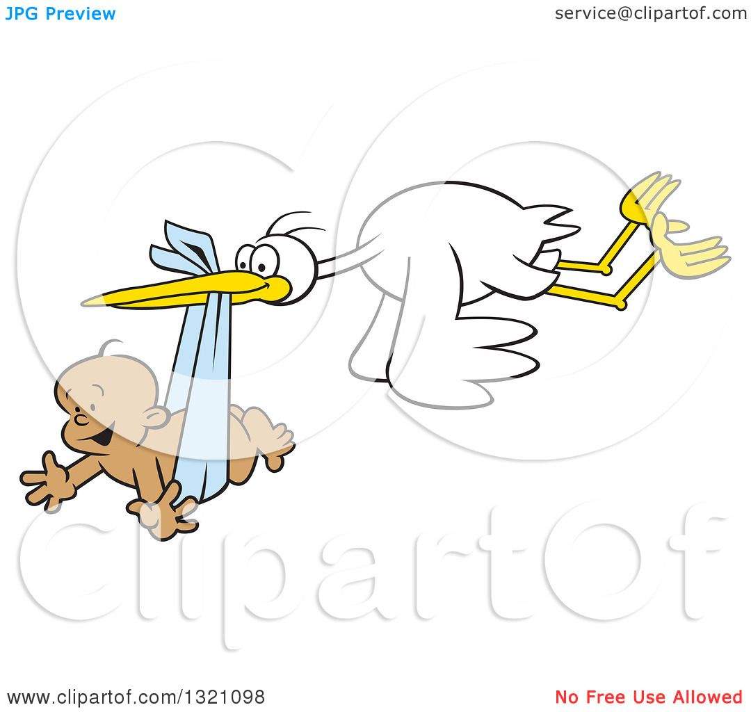 Clipart Of A Cartoon Stork Bird Flying A Happy Black Baby