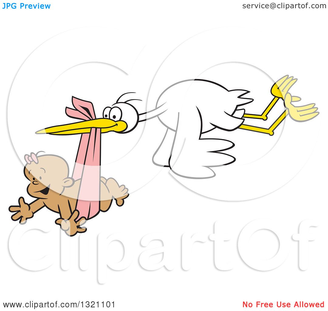 Clipart of a Cartoon Stork Bird Flying a Happy Black Baby Girl in ...