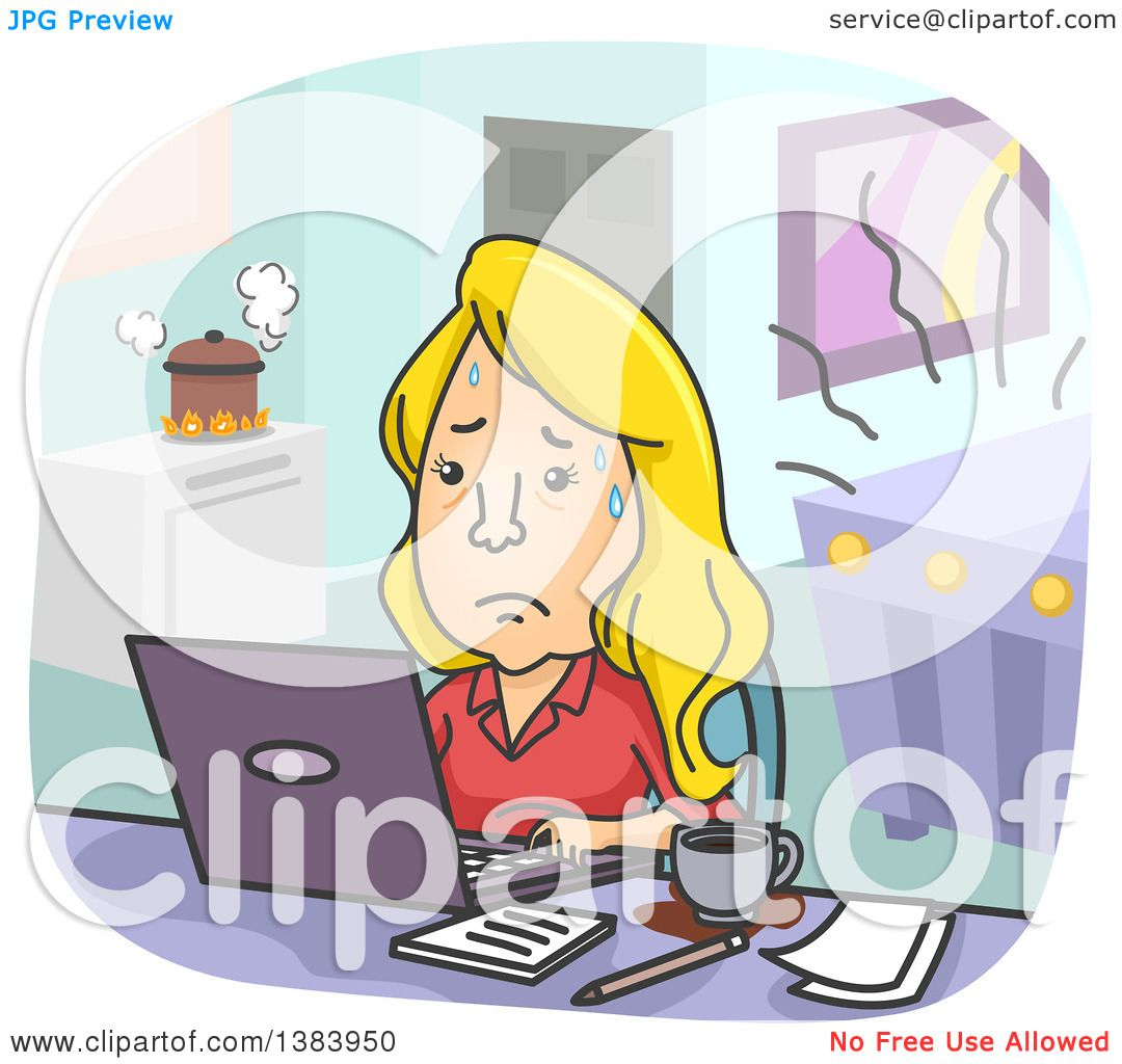 clipart of a cartoon stressed blond white w trying to balance clipart of a cartoon stressed blond white w trying to balance work and family responsibilities royalty vector illustration by bnp design studio