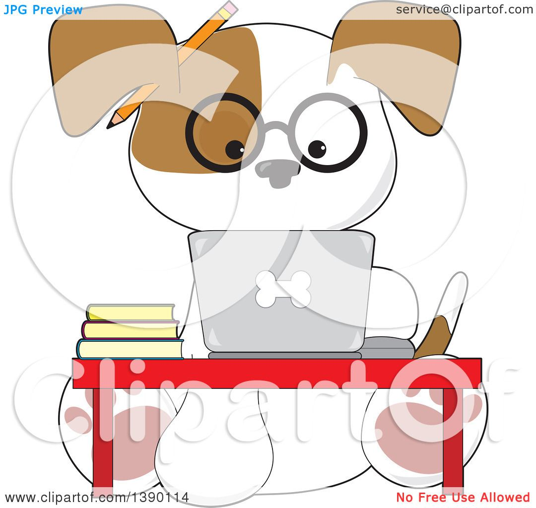 Fantastic Clipart Of A Cartoon Studious Puppy Dog Using A Laptop Download Free Architecture Designs Scobabritishbridgeorg